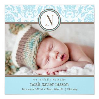 Quadratische blaue Geburts-Mitteilung des Damast-| Quadratische 13,3 Cm Einladungskarte