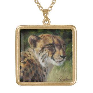 Quadratische Goldtone Gepard-Halskette Halskette Mit Quadratischem Anhänger