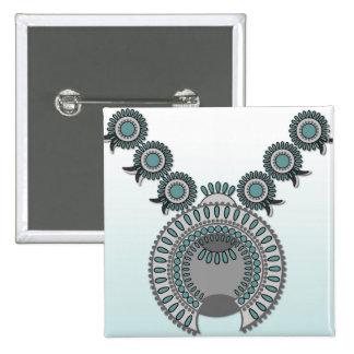 Quadratische Knopf KÜRBIS-BLÜTE Quadratischer Button 5,1 Cm