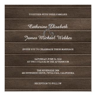 Quadratische rustikale Hochzeits-Einladung, Karte