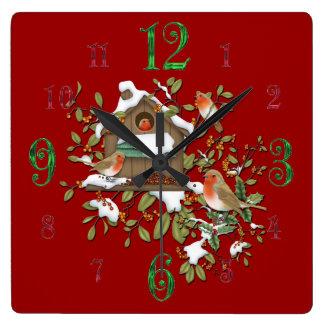 Quadratische Winter-Robin-Vogel-Haus-Wanduhr Quadratische Wanduhr