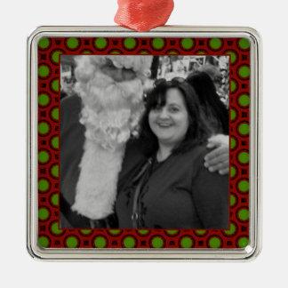 Quadratischer Fotorahmen der Feiertagspolkapunkte Silbernes Ornament