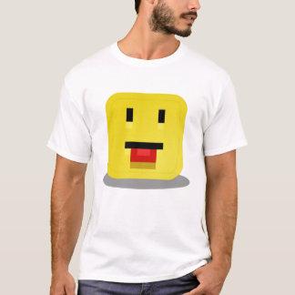 Quadratischer gelber smiley mit der roten Zunge T-Shirt