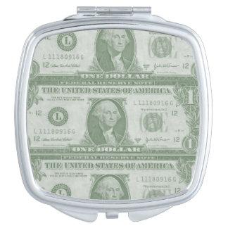 Quadratischer kompakter Spiegel 1 Dollarscheins Schminkspiegel