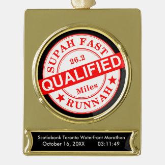 Qualifizierter super schneller Läufer Banner-Ornament Gold