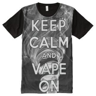 Qualität behalten Ruhe und Vape an vollen Druck T-Shirt Mit Bedruckbarer Vorderseite
