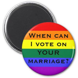 Quand est-ce que je peux voter sur VOTRE mariage ? Magnet Rond 8 Cm