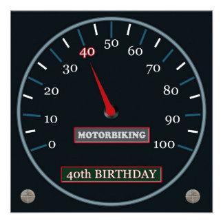 Quarantième invitation d'anniversaire de Motorbiki
