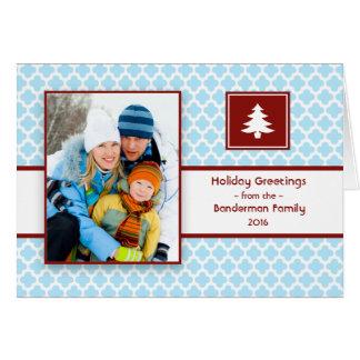 Quatrefoil blaues Rot-gefaltete Weihnachtskarte Karte