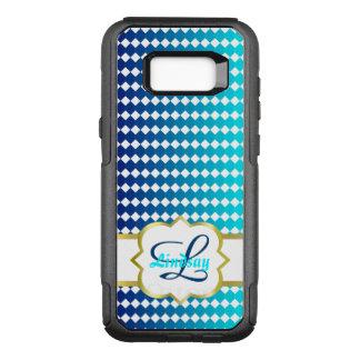 Quatrefoil Monogramm und blaues Quadratmuster OtterBox Commuter Samsung Galaxy S8+ Hülle