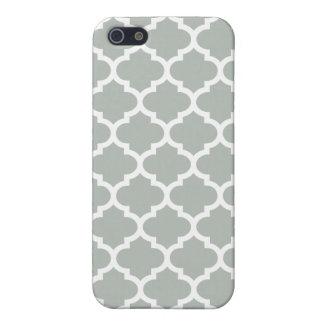 Quatrefoil silbernes Grau iPhone 5 Etui