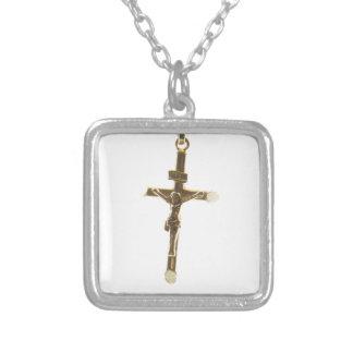 QuerJesus Christusgold horizontal Versilberte Kette