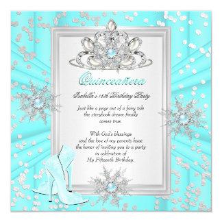 Quinceanera 15 Geburtstags-heller aquamariner Quadratische 13,3 Cm Einladungskarte