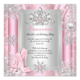 Quinceanera 15 Geburtstags-hellrosa Heels 2 Quadratische 13,3 Cm Einladungskarte