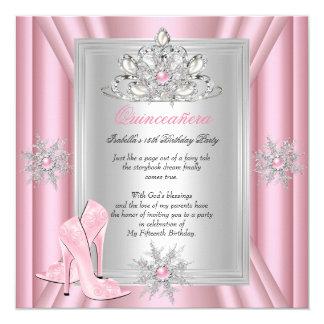 Quinceanera 15 Geburtstags-hellrosa Heels Quadratische 13,3 Cm Einladungskarte