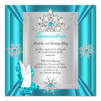 Quinceanera 15 Geburtstags-Party-aquamariner Heels Quadratische 13,3 Cm Einladungskarte