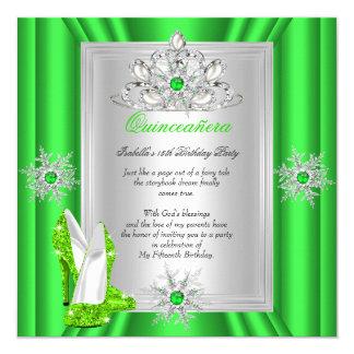 Quinceanera 15 Geburtstags-Party-Limoner grüner Quadratische 13,3 Cm Einladungskarte