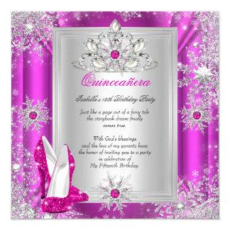 Quinceanera 15 Geburtstags-Party-Rosa-Heels 2 Quadratische 13,3 Cm Einladungskarte