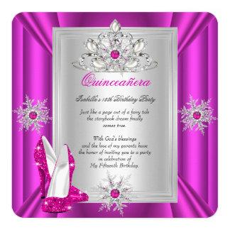 Quinceanera 15 Geburtstags-Party-Rosa-Heels Quadratische 13,3 Cm Einladungskarte