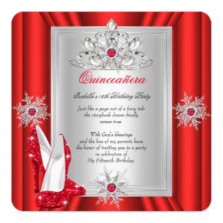 Quinceanera 15 Geburtstags-Party-Rot-Heels Quadratische 13,3 Cm Einladungskarte