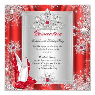 Quinceanera 15 Geburtstags-Party-roter Heels 2 Quadratische 13,3 Cm Einladungskarte