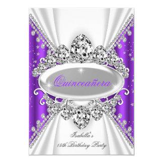 Quinceanera 15. Geburtstags-Prinzessin Purple 12,7 X 17,8 Cm Einladungskarte