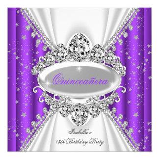 Quinceanera 15 Geburtstags-Prinzessin Purple Individuelle Einladung