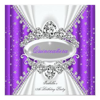 Quinceanera 15. Geburtstags-Prinzessin Purple Quadratische 13,3 Cm Einladungskarte