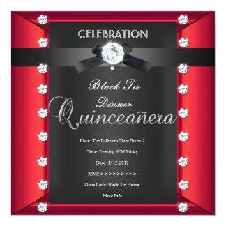 Quinceanera 15. schwarze Krawatten-Schwarz-weißes Quadratische 13,3 Cm Einladungskarte