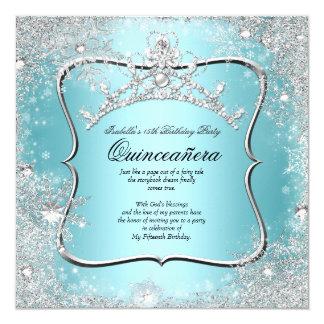 Quinceanera 15. Winter-Märchenland-Silber-Blau Quadratische 13,3 Cm Einladungskarte