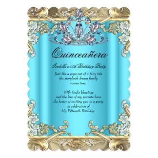 Quinceanera blaues Aqua-aquamarines Gold15. 12,7 X 17,8 Cm Einladungskarte