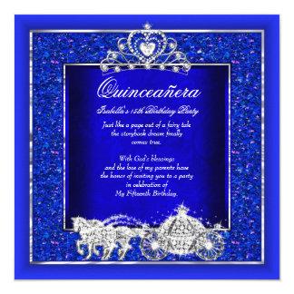 Quinceanera Geburtstags-Pferdewagen-Königsblau Quadratische 13,3 Cm Einladungskarte