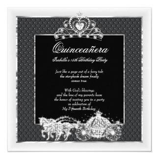 Quinceanera Geburtstags-Pferdewagen-Schwarz-Silber Quadratische 13,3 Cm Einladungskarte