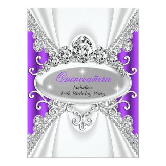 Quinceañera Geburtstags-Prinzessin Purple Diamond 16,5 X 22,2 Cm Einladungskarte