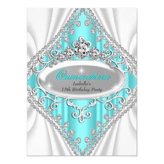 Quinceañera Geburtstags-Prinzessin Teal Diamond 16,5 X 22,2 Cm Einladungskarte