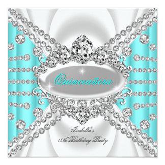 Quinceanera Geburtstags-Prinzessin Teal Diamond 2 Quadratische 13,3 Cm Einladungskarte