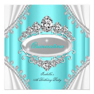 Quinceañera Geburtstags-Prinzessin Teal Diamond Personalisierte Ankündigungskarte