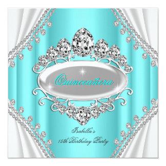 Quinceañera Geburtstags-Prinzessin Teal Diamond Quadratische 13,3 Cm Einladungskarte