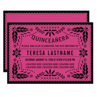 Quinceañera rosa schwarzes papel picado karte