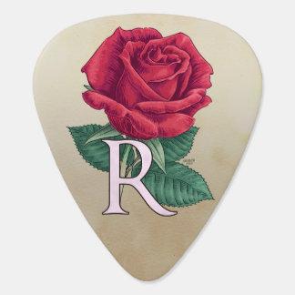 R für Rosen-Blumen-Monogramm Plektron