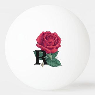 R für Rosen-Blumenalphabet-Monogramm Ping-Pong Ball