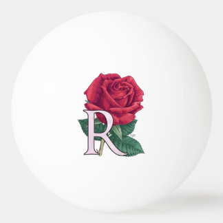 R für Rosen-Blumenalphabet-Monogramm Tischtennis Ball