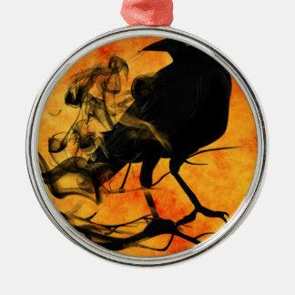 Rabe im Baum Rundes Silberfarbenes Ornament