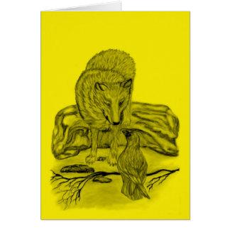 Rabe mit Wolf schwarz gelb Design Karte