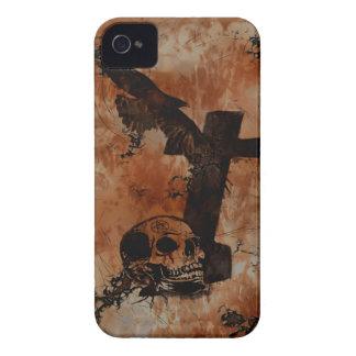 Rabe, Schädel, Grundstein-Spinnen-gotischer Case-Mate iPhone 4 Hülle