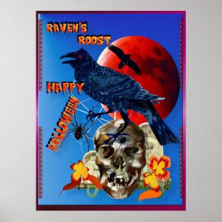 Rabe und Rot Mond-mit Buchstaben gekennzeichnet Poster