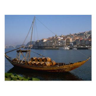 Rabelo Boote, Porto, Portugal Postkarte