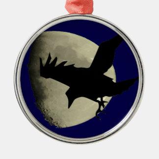 Raben-Fliegen über dem Mond Rundes Silberfarbenes Ornament