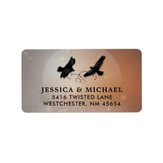 Raben u. Herz-Halloween-Hochzeits-Adressen-Etikett Adressaufkleber
