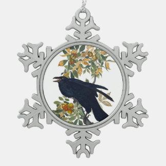Raben-Vogel Schneeflocken Zinn-Ornament